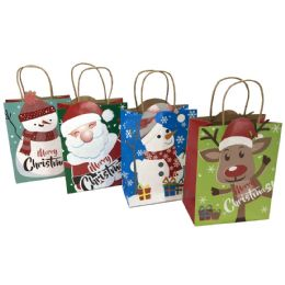 """48 of Party Solutions Glitter Christmas Gift Bag Medium 7""""wx4d""""x9h"""" Twisted Craft Handle Astd Designs"""