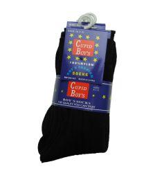 144 of Boys Nylon Dress Socks, Boys Uniform Socks, Solid Black Size M