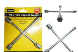 72 of 4-Way Hex Socket Wrench Sizes: 8, 10, 12, 14mm