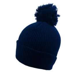 36 of Solid Knitted PomPom Hat Navy