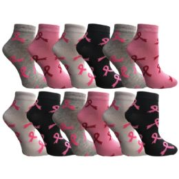 12 of Yacht & Smith Women's Breast Cancer Awareness Socks, Pink Ribbon Ankle Socks