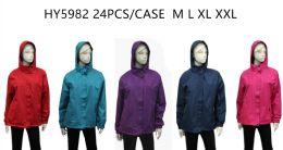 24 of Ladies Wind Breaker Jacket - (assorted Colors)