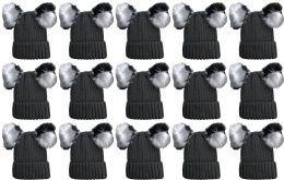 24 of Double Pom Pom Ribbed Winter Beanie Hat, Multi Color Pom Pom Solid Gray