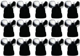 24 of Double Pom Pom Ribbed Winter Beanie Hat, Multi Color Pom Pom Solid Black
