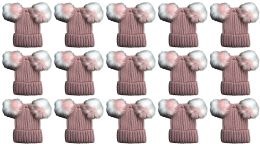 24 of Double Pom Pom Ribbed Winter Beanie Hat, Multi Color Pom Pom Solid Pink