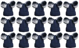 24 of Double Pom Pom Ribbed Winter Beanie Hat, Multi Color Pom Pom Solid Navy