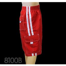 48 of Mens Micro Fiber Swim Shorts: Two Stripes