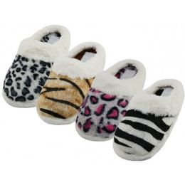 48 of Women's Close Toe Plush Animal Print Upper With Faux Fur Cuff House Slippers