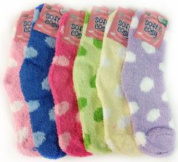 60 of Warm Soft Fuzzy Socks With Polka Dots Assorted Colors