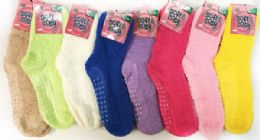 60 of Solid Color Ladies' Fuzzy Socks With Anti Skid Assorted