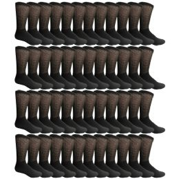 48 of Yacht & Smith Men's Loose Fit NoN-Binding Soft Cotton Diabetic Crew Socks Size 10-13 Black