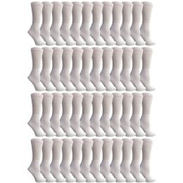 48 of Yacht & Smith Women's Cotton Diabetic NoN-Binding Crew Socks - Size 9-11 White