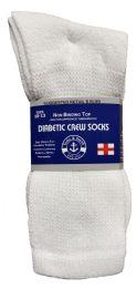 24 of Yacht & Smith Men's Loose Fit NoN-Binding Soft Cotton Diabetic Crew Socks Size 10-13 White Bulk Pack