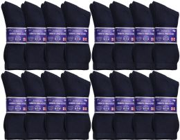 48 of Yacht & Smith Men's Loose Fit NoN-Binding Soft Cotton Diabetic Crew Socks Size 10-13 Navy