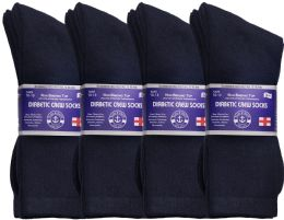 12 of Yacht & Smith Men's Loose Fit NoN-Binding Soft Cotton Diabetic Crew Socks Size 10-13 Navy