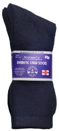 3 of Yacht & Smith Men's Loose Fit NoN-Binding Soft Cotton Diabetic Crew Socks Size 10-13 Navy