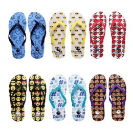 96 of Women's Assorted Emoji Print Flip Flops