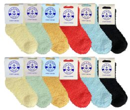24 of Yacht & Smith Kids Solid Color Fuzzy Socks Size 4-6