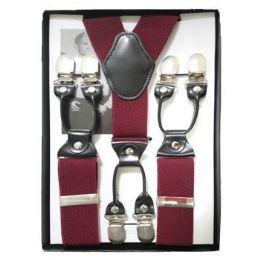 24 of Solid Suspenders Burgundy