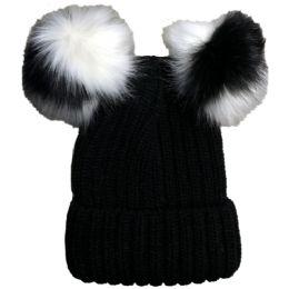 Yacht & Smith Womens 3 Inch Double Pom Pom Ribbed Beanie Hat, Black