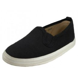 24 of Boy's Slip On Twin Gore Canvas Shoes ( *black Color )