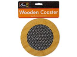 72 of Round Wooden Coaster With Basket Weave Pattern