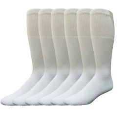 6 of Yacht & Smith Women's Cotton Tube Socks, Referee Style, Size 9-15 Solid White
