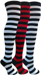 3 of Yacht&smith Womens Over The Knee Socks Stripe Referee Knee High Socks