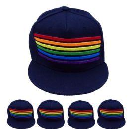 24 of Adult Rainbow Snapback Cap In Navy