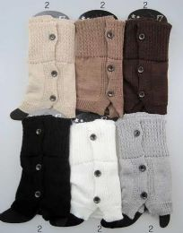 12 of Buttons Design Leg Warmer Boot Toppers Assorted