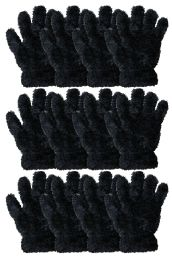 36 of Kids Furry Gloves Solid Black , Warm And Fuzzy