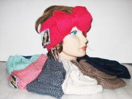 24 of Assorted Color Knit Bow Headband