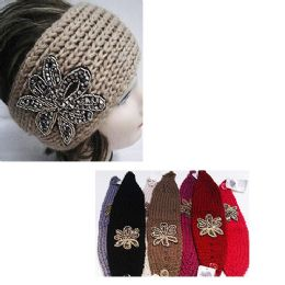 24 of Assorted Color Knit Bow Headband With Beaded Floral Design