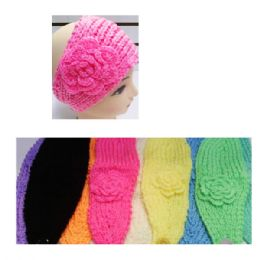 24 of Assorted Color Knit Bow Headband With Flower Design