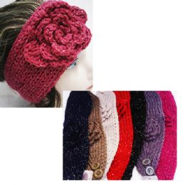 24 of Women's Assorted Color Headbands With Sparkle And Flower Design