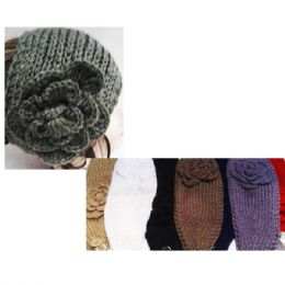 24 of Women's Solid Assorted Color Headbands With Flower Design