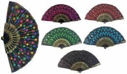 96 of Hand Fan With Feather Pattern Sequins Assorted Color