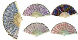 96 of Hand Fan With Various Shiny Pattern Assorted Colors