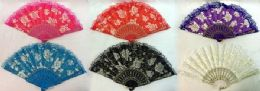 96 of Rose Hand Fan Assorted Colors