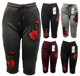 12 of Rose Flower Legging Assorted Colors Capris Pants