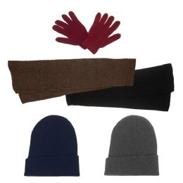 144 of Unisex Winter Gloves, Scarf, Beanie In 5 Assorted Colors