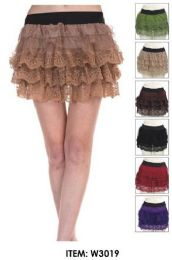24 of Tiered Lace Mini Skirts Assorted