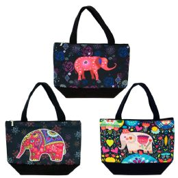 24 of Insulated Lunch Bag In 3 Assorted Elephant Prints