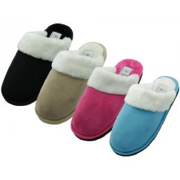 48 of Women's Velour Plush Scuff Upper With Faux Fur Cuff House Slippers