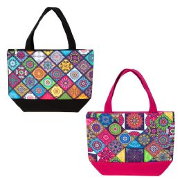 24 of Insulated Lunch Bag In 2 Assorted Kaleidoscope Prints