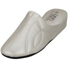 48 of Women's Close Toe Soft Silver Metallic Upper House Slippers
