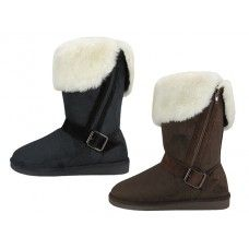 24 of Women's Micro Suede Foldover Winter Boots With Faux Fur Lining And Side Zipper