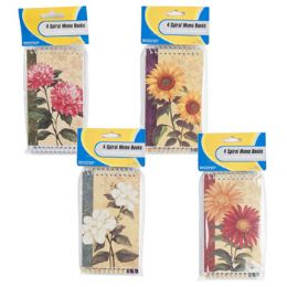 72 of 4 Pack Floral Pattern Memo Books