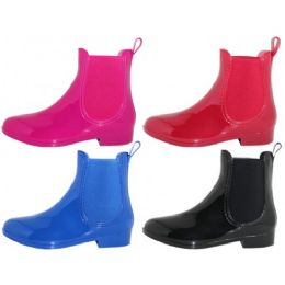 24 of Women's 6.5 Inches Ankle Height Water Proof Solid Color Rubber Rain Boots