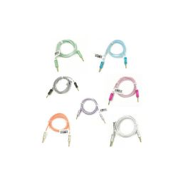 48 of Wholesale 3ft Long Round Auxiliary Cable In 7 Assorted Colors